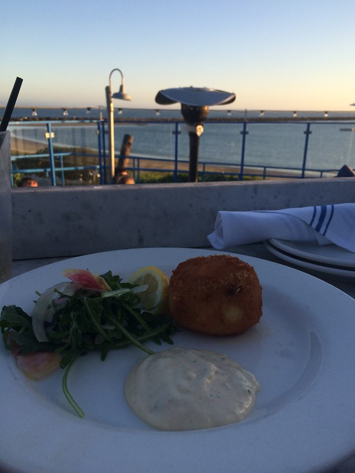 We got amazing fresh crab cakes and ate on the patio
