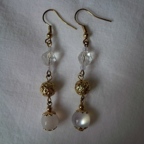 CRYSTAL + GOLD ORB EARRINGS, $10